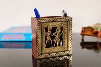 Adorning Dhokra Art Wooden Pen Stand