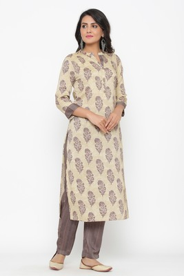 Ardozaa Women's Modal Chanderi Printed Straight Kurta Pant Set (Cream)
