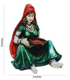 Buy Polyresin Rajasthani Lady Showpiece housewarming-gift online