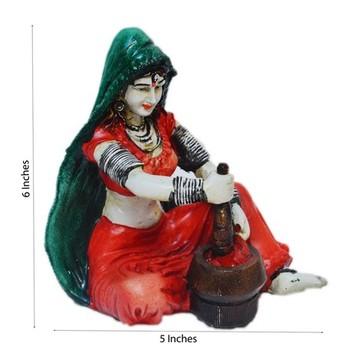 Polyresin Rajasthani Lady Grinding Chilli Showpiece