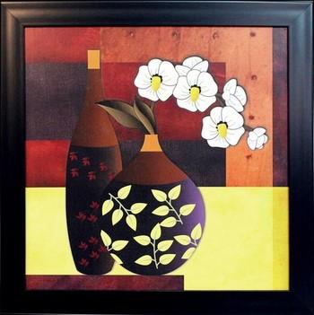Abstract Pot and Flower Theme Satin Matt Texture Framed UV Art Print