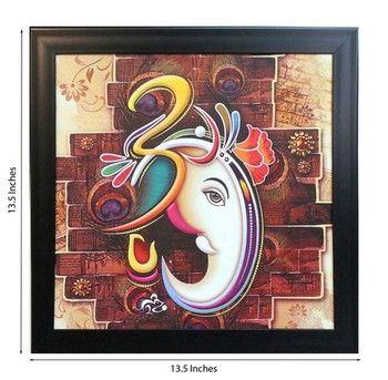 Om Ganesha Design Satin Matt Texture Framed UV Art Print