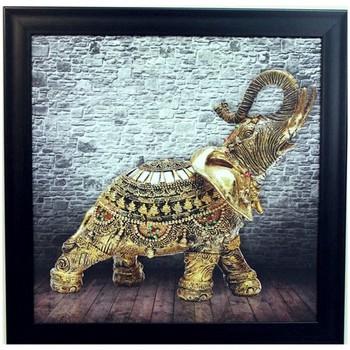 Jewelled Elephant Design Satin Matt Texture Framed UV Art Print