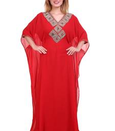 Red Zari Stone Work Georgette Islamic Style Beads Embedded Partywear Kaftan Long Gown Evening wear Dubai kaftan