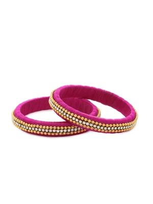Girls Pink Beads/ Stone Chain Silk Thread Bangle