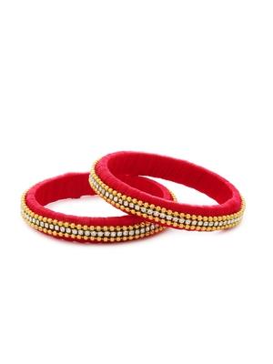 Girls Red Beads/ Stone Chain Silk Thread Bangle