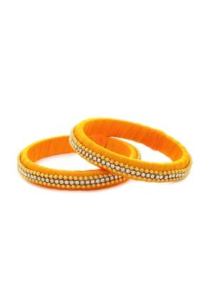 Girls Gold Beads/ Stone Chain Silk Thread Bangle