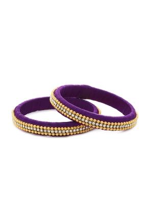 Girls Purple Beads/ Stone Chain Silk Thread Bangle