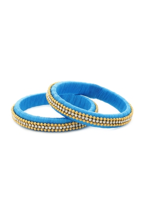 Girls Blue Beads/ Stone Chain Silk Thread Bangle