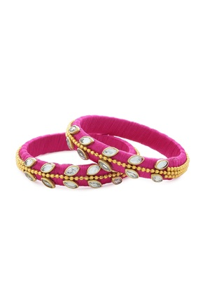 Girls Pink Kundan Stone/ Beads Chain Silk Thread Bangle