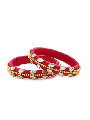 Girls Red Kundan Stone/ Beads Chain Silk Thread Bangle