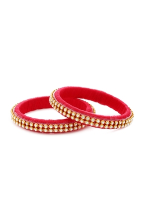 Girls Red Stone/ Beads Chain Silk Thread Bangle