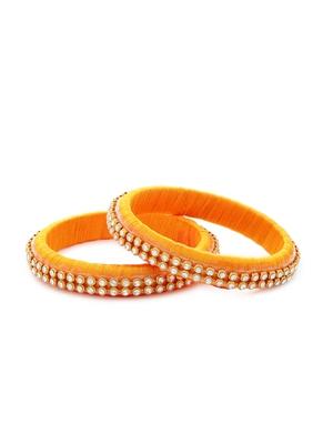 Girls Gold Stone/ Beads Chain Silk Thread Bangle