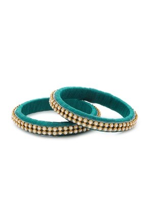 Girls Green Stone/ Beads Chain Silk Thread Bangle