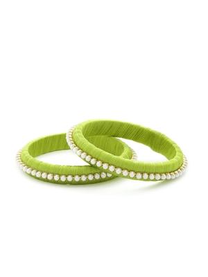 Girls Green Pearl Chain Silk Thread Bangle