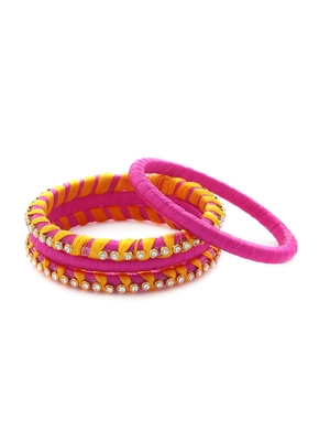 Girls Pink Stone Chain Wrapped with Silk Thread Bangle