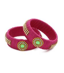 Girls Pink Stone Chain / Beads Silk Thread Bangle