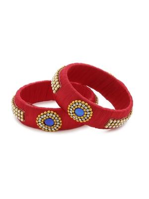 Girls Red Stone Chain / Beads Silk Thread Bangle