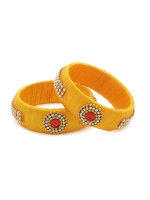 Girls Gold Stone Chain / Beads Silk Thread Bangle