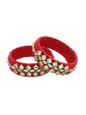 Girls Red Kundan Stone Silk Thread Bangle
