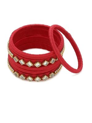 Girls Red Kundan Stone Silk Thread Bangle
