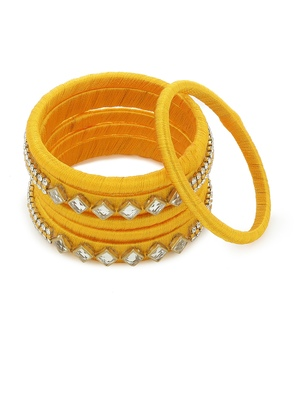 Girls Gold Kundan Stone Silk Thread Bangle