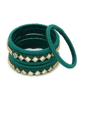 Girls Green Kundan Stone Silk Thread Bangle