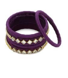 Girls Purple Kundan Stone Silk Thread Bangle