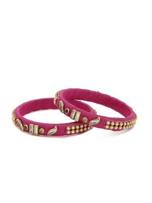 Girls Pink Kundan Stone Silk Thread Bangle