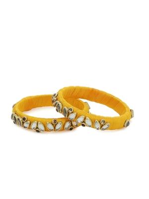 Girls Gold Kundan Stone Silk Thread Bangle