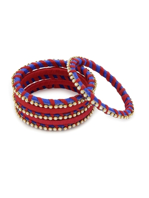 Girls Red Stone Chain wrapped with Silk Thread Bangle