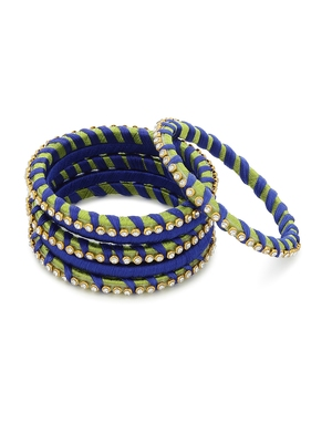 Girls Blue Stone Chain wrapped with Silk Thread Bangle