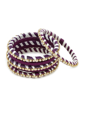 Girls Purple Stone Chain wrapped with Silk Thread Bangle