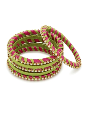 Girls Green Stone Chain wrapped with Silk Thread Bangle