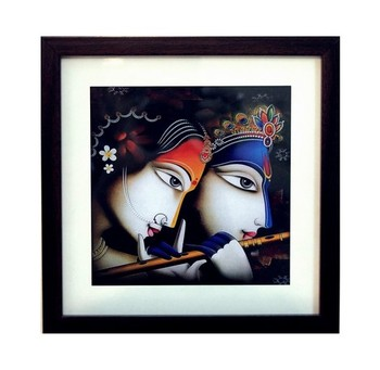 Radha Krishna Satin Matt Texture Framed UV Art Print
