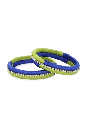 Girls Green Stone Chain double color Silk Thread Bangle