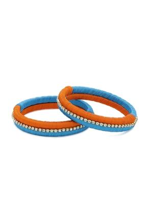 Girls Orange Stone Chain double color Silk Thread Bangle
