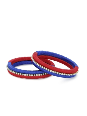 Girls Red Stone Chain double color Silk Thread Bangle