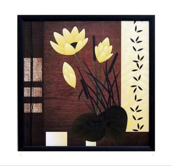 Beautiful Yellow Flower Satin Matt Texture Framed UV Art Print