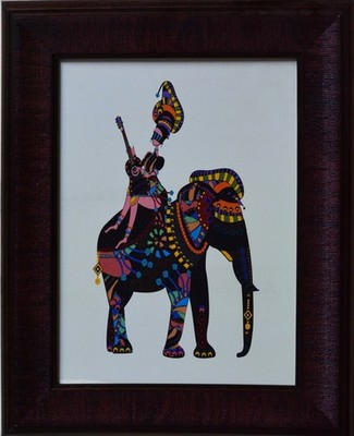 Elephant Theme Satin Matt Texture Framed UV Art Print