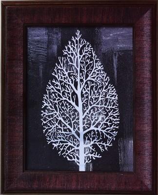 Decorative Leaf Satin Matt Texture Framed UV Art Print