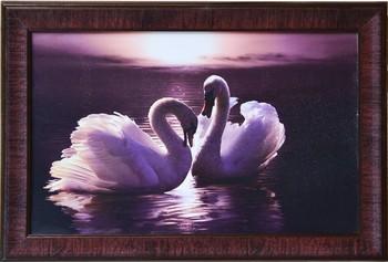 2 Swans Design Satin Matt Texture Framed UV Art Print