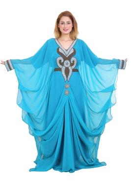 Aqua Blue Zari Stone Work Georgette Islamic Style Beads Embedded Partywear Kaftan Long Gown Evening wear Dubai kaftan