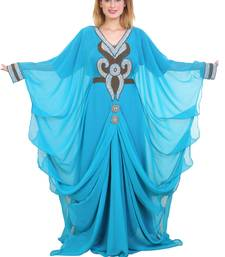 Aqua Blue Zari Stone Work Georgette Islamic Style Beads Embedded Partywear Kaftan Long Gown Evening wear Dubai kaftan