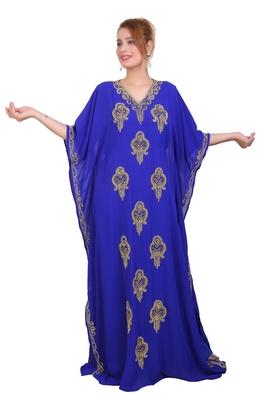 Royal Blue Zari Stone Work Georgette Islamic Style Beads Embedded Partywear Kaftan Long Gown Evening wear Dubai kaftan