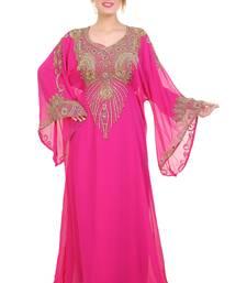 Rani Pink Zari Stone Work Georgette Islamic Style Beads Embedded Partywear Kaftan Long Gown Evening wear Dubai kaftan