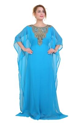 Blue/ferozi Zari Stone Work Georgette Islamic Style Beads Embedded Partywear Kaftan Long Gown Evening wear Dubai kaftan