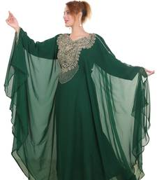Bottle Green Zari Stone Work Georgette Islamic Style Beads Embedded Partywear Kaftan Long Gown Evening wear Dubai kaftan