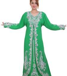 parrot Green Zari Stone Work Georgette Islamic Style Beads Embedded Partywear Kaftan Long Gown  Dubai kaftan