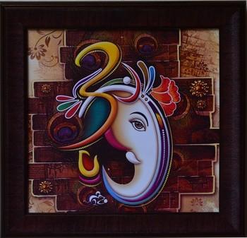 Colorful Om Ganesha Design Satin Matt Texture Framed UV Art Print